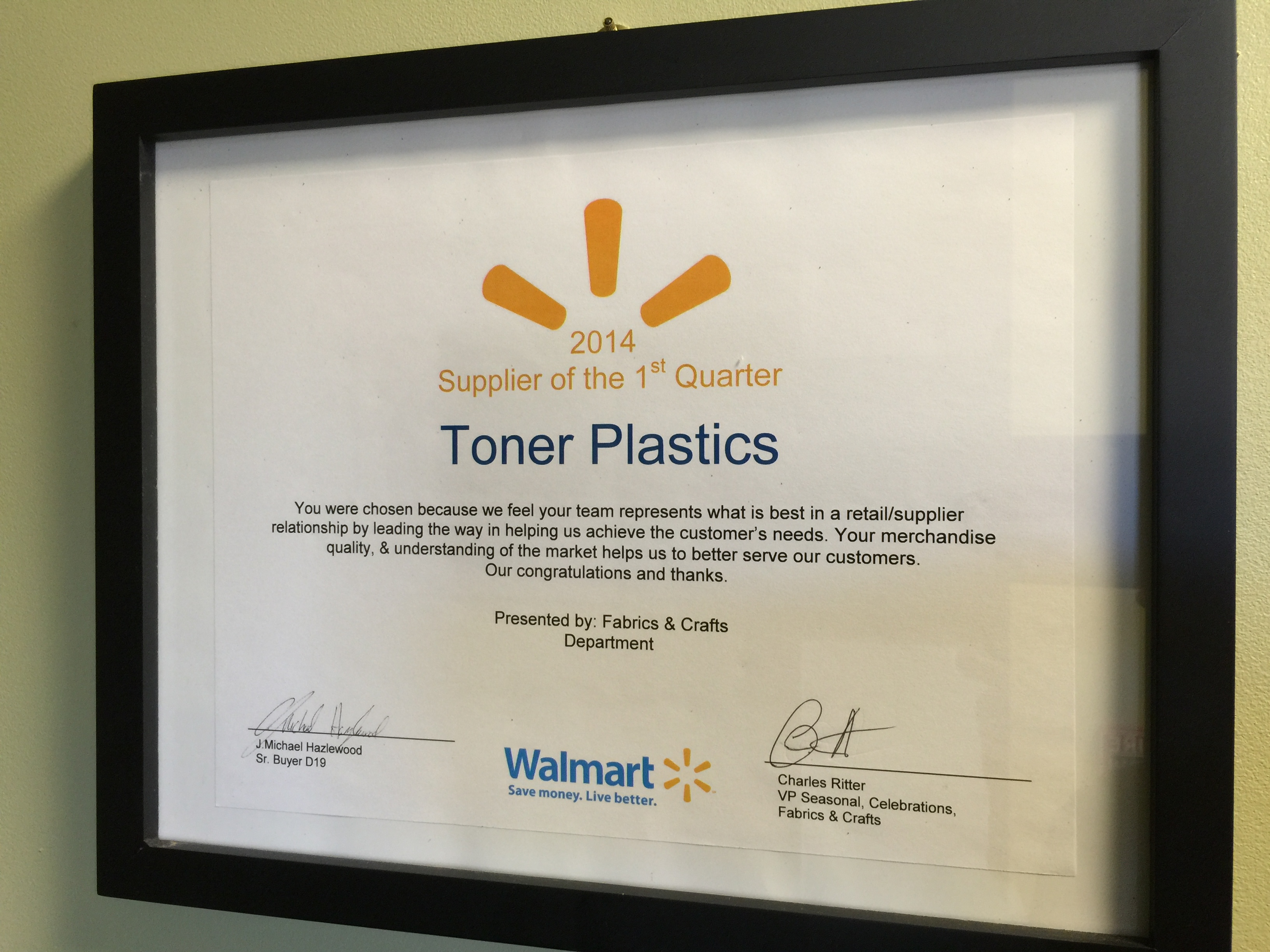 Walmart crafts and fabrics - Walmart Supplier Award
